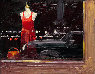 Red Dress In The Window- Signed By The Artist – CanvasGiclee  – Limited Edition  – 75S/N  –  7x9