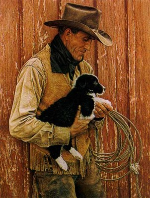 John's New Pup- Signed By The Artist – PaperLithograph – Limited Edition – 850S/N – 19 3/8x15 1/4