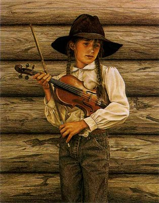 Kate And Her Fiddle- Signed By The Artist								 – Paper Lithograph – Limited Edition – 850 S/N – 19 3/8 x 15 5/8