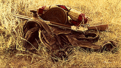 1880's Still Life Of Saddle And Rifle- Signed By The Artist								 – Canvas Giclee 								 – Limited Edition 								 – 75 S/N 								 –  								9 x 16