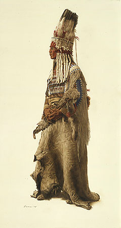 Blackfoot Ceremonial Headdress- Signed By The Artist								 – Paper Lithograph – Limited Edition – 200 S/N – 30 x 16