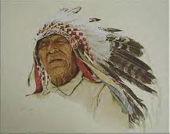 A Crow Indian- Signed By The Artist								 – Paper Lithograph – Limited Edition – 1000 S/N – 17 x 20