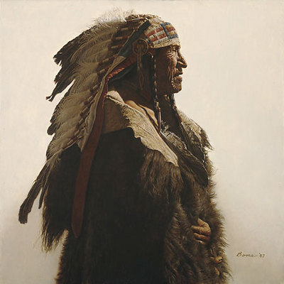 Crow Indian From Lodge Grass- Signed By The Artist								 – Paper Lithograph – Limited Edition – 1250 S/N – 18 3/4 x 18 3/4 –