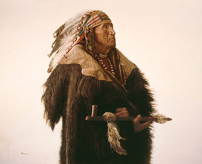 Crow Indian With Peace Pipe- Signed By The Artist – CanvasGiclee – Limited Edition – 75S/N – 17x21