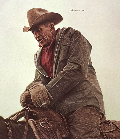 Ken Hunder, Working Cowboy- Signed By The Artist								 – Paper Lithograph – Limited Edition – A/P – 24 x 21 –