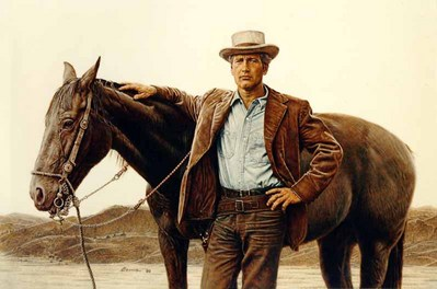 Paul Newman As Butch Cassidy- Signed By The Artist – PaperLithograph – Limited Edition – 2000S/N – 18 1/4x27 3/4