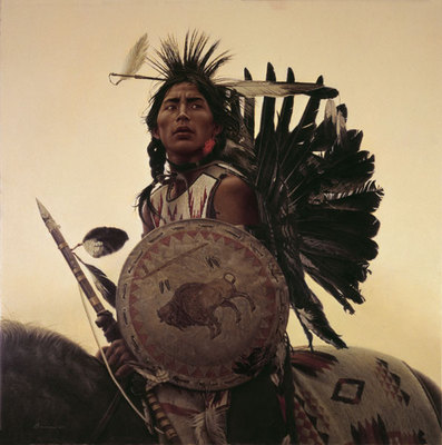 Young Plains Indian- Signed By The Artist – CanvasGiclee – Limited Edition – A/P – 24x24 –