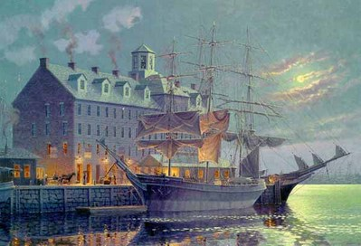 Old Boston By Moonlight- Signed By The Artist – PaperLithograph – Limited Edition – 999S/N – 20x30