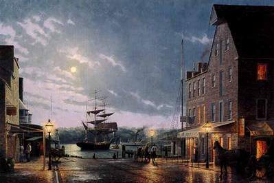 Old Town Alexandria By Moonlight (Remarqued)- Signed By The Artist – PaperLithograph – Limited Edition – 75A/P – 18x29 –