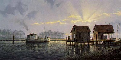 Sunrise Over Mobjack Bay (Remarqued)- Signed By The Artist								 – Paper Lithograph – Limited Edition – 75 A/P – 14 x 28 –