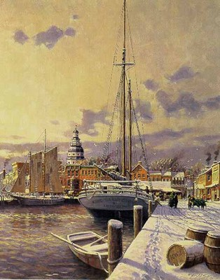 Winter In Annapolis- Signed By The Artist – PaperLithograph – Limited Edition – S/N – 13 1/4x10 1/2 –