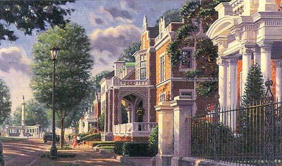 Along The Avenue – Monument Avenue, Richmond, Virginia (Remarqued)- Signed By The Artist								 – Paper Lithograph – Limited Edition – A/P – 12 x 22