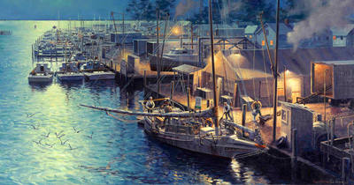 Offloading The Catch At Tilghman Island- Signed By The Artist								 – Canvas Giclee – Limited Edition – 300 S/N – 17 x 32