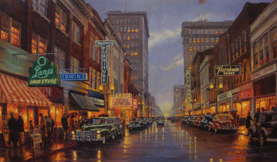 A Grand Night In Steubenville- Signed By The Artist – CanvasGiclee – Limited Edition – 10S/N – 26x44 –