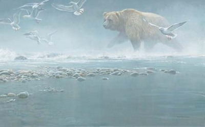 Above The Rapids – Gulls And Grizzly- Signed By The Artist								 – Canvas Giclee – Limited Edition – 180 S/N – 23 x 37