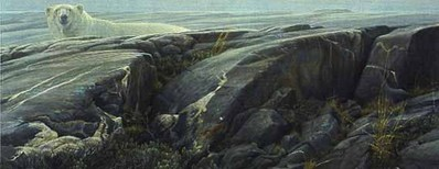 Arctic Landscape – Polar Bear- Signed By The Artist								 – Paper Lithograph – Limited Edition – 76 A/P – 16 7/8 x 41