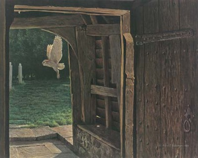 Barn Owl In The Churchyard- Signed By The Artist								 – Paper Lithograph – Limited Edition – 950 S/N – 15 1/2 x 19 1/2