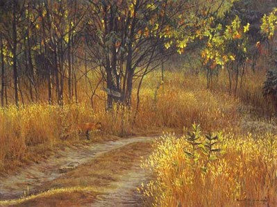 Cottage Lane – Red Fox- Signed By The Artist – PaperLithograph – Limited Edition – 950S/N – 17 1/8x22 3/4