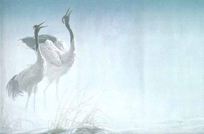 Cries Of Courtship – Red-Crowned Cranes- Signed By The Artist								 – Paper Lithograph – Limited Edition – 950 S/N – 24 3/4 x 40