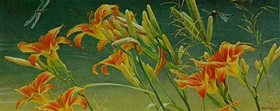 Daylilies And Dragonflies- Signed By The Artist – PaperLithograph – Limited Edition – 76A/P – 9 7/8x23 3/4 –