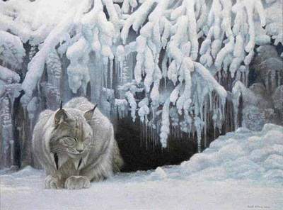 Dozing Lynx- Signed By The Artist – PaperLithograph – Limited Edition – 950S/N – 22x29 1/4 –