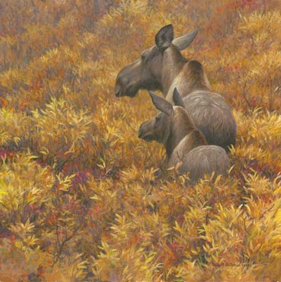 Fall Forage – Moose Cow And Calf- Signed By The Artist								 – Paper Lithograph – Limited Edition – 76 A/P – 16 x 16