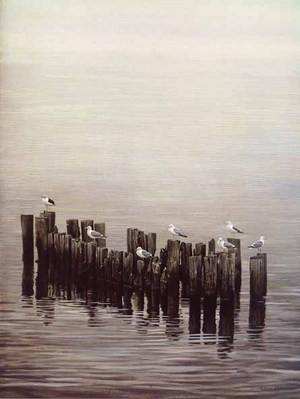 Gulls On Pilings- Signed By The Artist – PaperLithograph – Limited Edition – 1950S/N – 26x19 1/2 –