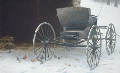 Old Buggy And Winter Birds- Signed By The Artist – PaperLithograph – Limited Edition – 950S/N – 19 1/2x32 1/2