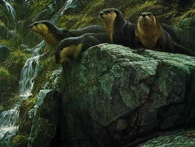 On The Brink – River Otters- Signed By The Artist – PaperLithograph – Limited Edition – 1250S/N – 21 5/8x29 1/8
