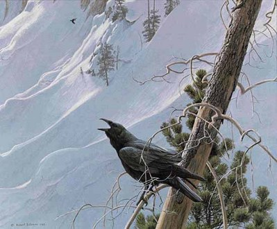 Winter In The Mountains – Raven- Signed By The Artist								 – Paper Lithograph – Limited Edition – 950 S/N – 18 x 20 3/4
