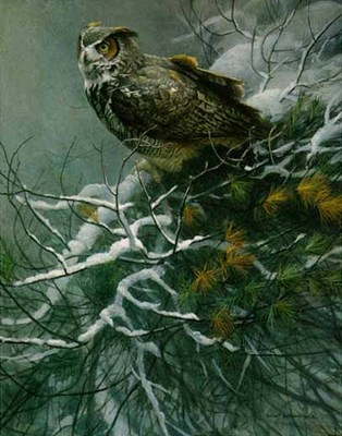 Winter Pine – Great Horned Owl- Signed By The Artist								 – Paper Lithograph – Limited Edition – 1250 S/N – 24 7/8 x 19 3/4