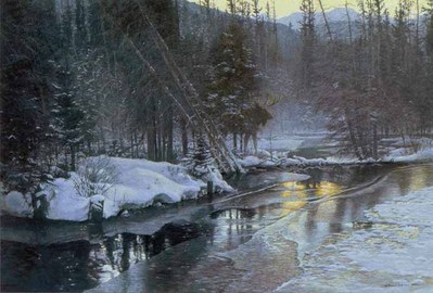 Winter Sunset – Moose- Signed By The Artist – PaperLithograph – Limited Edition – 950S/N – 19 1/2x28 3/4 –