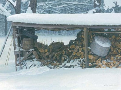 Woodshed In Winter – Ermine- Signed By The Artist – PaperLithograph – Limited Edition – 76A/P – 14 3/4x19 5/8 –