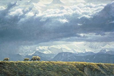 Along The Ridge – Grizzly Bears- Signed By The Artist								 – Canvas Giclee – Limited Edition – 40 A/P – 24 x 36