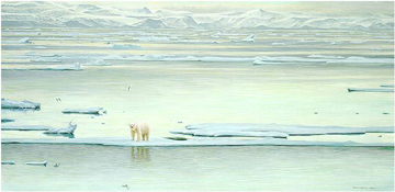 Arctic Ice – Polar Bear- Signed By The Artist – CanvasLithograph – Limited Edition – 180S/N – 23x46
