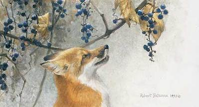 Fox And Grapes- Signed By The Artist – PaperLithograph – Limited Edition – 2500S/N – 5 3/8x9 1/2