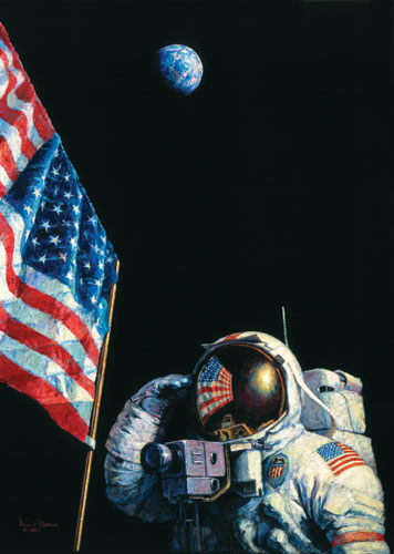 An American Success Story (Apollo 16)- Signed By The Artist – CanvasGiclee – Limited Edition – 100S/N – 27x18