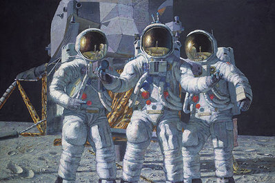 "Conrad, Gordon And Bean: The Fantasy (Apollo 12)- Signed By Astronaut/Artist Alan Bean, Charles ""Pete"" Conrad, And Richard ""Dick"" Gordon								 – Paper Lithograph – Limited Edition – 50 A/P – 15 3/4 x 23 3/4"