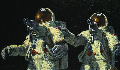 """Heavenly Reflections (Apollo 12)- Signed By Astronaut/Artist Alan Bean & Astronaut Charles """"Pete"""" Conrad – PaperLithograph – Limited Edition – 50A/P – 13 5/8x24"""
