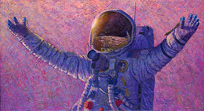 "Hello Universe (Apollo 14 & Apollo 17)- Signed By Astronaut/Artist Alan Bean, Eugene ""Gene"" Cernan & Edgar ""Dean"" Mitchell – PaperLithograph – Limited Edition – 100A/P – 16x29"