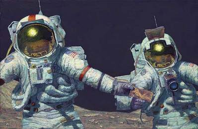 "Right Stuff Field Geologists (Apollo 17)- Signed By Astronaut/Artist Alan Bean, Eugene ""Gene"" Cernan & Harrison ""Jack"" Schmitt								 – Paper Lithograph – Limited Edition – 70 A/P – 16 1/2 x 25 1/4"