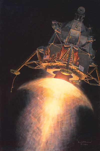 Armstrong, Aldrin, And An American Eagle (Apollo 11)- Signed By The Artist – CanvasGiclee – Limited Edition – 150S/N – 14x9