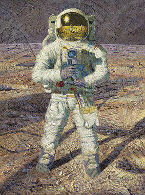 First Men: Neil A. Armstrong (Apollo 11)- Signed By The Artist – Textured CanvasGiclee – Limited Edition – 20A/P – 40x30