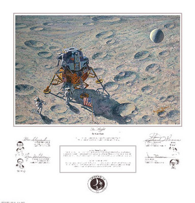 "In Flight (Apollo 14)- Signed By Astronaut/Artist Alan Bean, Alan Shepard, Edgar ""Dean"" Mitchell & Stuart Roosa								 – Paper Lithograph – Limited Edition – 850 S/N – 12 1/2 x 19"