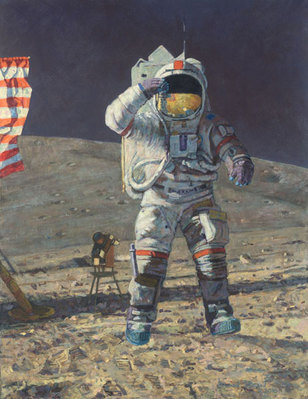 John Young Leaps Into History (Apollo 16)- Signed By The Artist – CanvasGiclee – Limited Edition – 25A/P – 29x22