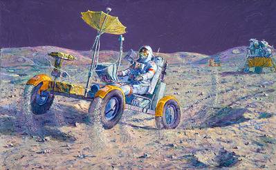 Lunar Grand Prix (Apollo 16)- Signed By The Artist – CanvasGiclee – Limited Edition – 22A/P – 16x26