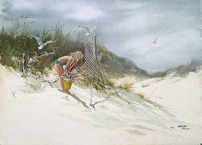 Gathering Sea Oats- Signed By The Artist – PaperLithograph – Limited Edition – 550S/N – 18x25