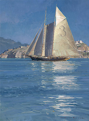 Pilot Schooner Gracie S., Becalmed Off Alcatraz- Signed By The Artist – CanvasGiclee  – Limited Edition  – 75S/N  –  24x18