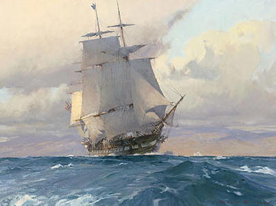 """U.S. Frigate """"Congress"""" On The California Coast- Signed By The Artist – CanvasGiclee – Limited Edition – 75S/N – 18x24"""