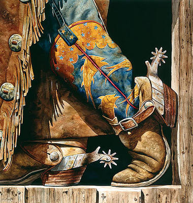 Cowboy Fishin' Boots- Signed By The Artist – PaperGiclee  – Limited Edition  – 30S/N  –  22 3/4x21 1/2